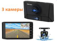 """Видеорегистратор с камерой заднего вида E-ACE, FHD, IPS 4.0"""", + салонная камера"""