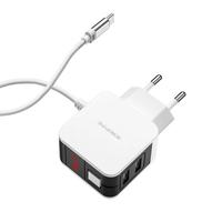 Сетевое зарядное устройство USB, Borofone BA41A, 2.4А, 2xUSB, дисплей, кабель Type-C