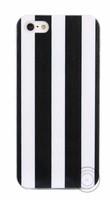 Чехол-накладка на Apple iPhone 5/5S, силикон, в полоску, черно-белый