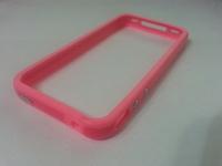 Бампер на Apple iPhone 4/4S, силикон, пластик, розовый