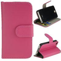 Чехол-книжка на Apple iPhone 4/4S, полиуретан, магнитный с язычком, розовый