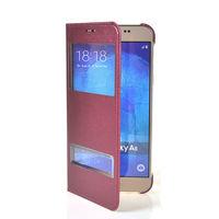 Чехол-книжка на Samsung А8 полиуретан, S-view, оригинал, бордовый