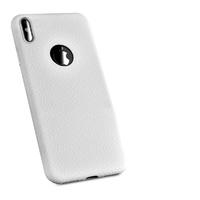 Чехол-накладка на Apple iPhone X/Xs, силикон, под кожу, с вырезом, белый