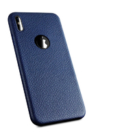 Чехол-накладка на Apple iPhone X/Xs, силикон, под кожу, с вырезом, синий