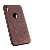 Чехол-накладка на Apple iPhone X/Xs, силикон, под кожу, с вырезом, коричневый