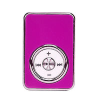 MP3-плеер, клипса, пластик, microSD,  глянцевый, (без кабеля, без наушников), розовый