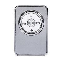 MP3-плеер, клипса, пластик, microSD,  глянцевый, (без кабеля, без наушников), серебристый