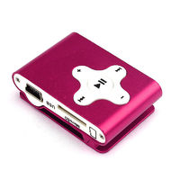 MP3-плеер, клипса, microSD, алюминий, X, розовый