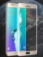 Защитное стекло для Samsung Galaxy S6 Edge 3D, на дисплей, с рамкой, золотистый
