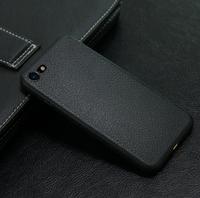 Чехол-накладка на Apple iPhone 6/6S, силикон, под кожу, без выреза, черный