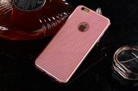 Чехол-накладка на Apple iPhone 6/6S, силикон, блестящий, кристаллы, розовый