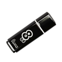Память USB 2.0 Flash, 8GB, Smart Buy Glossy series Black