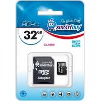 Карта памяти MicroSDHC 32GB Smart Buy, Class 4 (с SD адаптером)