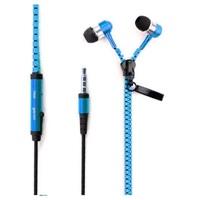 Гарнитура проводная, 3,5мм, Zipper, вакуумная, на молнии, синий