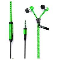 Гарнитура проводная, 3,5мм, Zipper, вакуумная, на молнии, зеленый