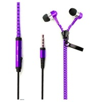 Гарнитура проводная, 3,5мм, Zipper, вакуумная, на молнии, фиолетовый