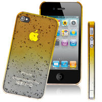 Чехол-накладка на Apple iPhone 4/4S, силикон, капли, желтый
