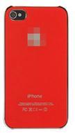 Чехол-накладка на Apple iPhone 4/4S, пластик, хром, глянцевый, красный