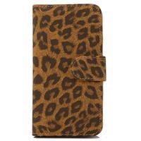 Чехол-книжка на Apple iPhone 4/4S, полиуретан, магнитный, леопард