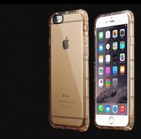 Чехол-накладка на Apple iPhone 6/6S, силикон, противоударный, прозрачный, золотистый