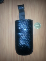Чехол карман, кожа, карбон, 11см*5см, черный