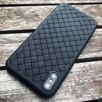 Чехол-накладка на Apple iPhone X/Xs, силикон, под кожу, плетеный, черный