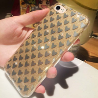 Чехол-накладка на Apple iPhone 7/8, силикон, блестящий, сердечко, золотистый