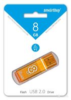 Память USB 2.0 Flash, 8GB, Smart Buy Glossy series Orange
