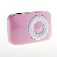 MP3-плеер, клипса, пластик, microSD, Glossar, розовый