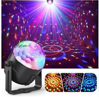 Светодиодная диско лампа, вращающаяся, крепление на стене/потолке, RGB