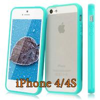 Чехол-накладка на Apple iPhone 4/4S, силикон, пластик, бампер, бирюзовый