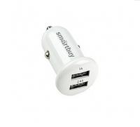 Автомобильное зарядное устройство USB, SmartBuy, 2.4А+1А, 2xUSB, белый (SBP-2025)