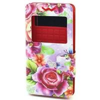 """Чехол-книжка универсальная, силик.бампер, S-view 4.5""""-5.0"""", цветной, цветы"""