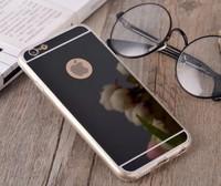Чехол-накладка на Apple iPhone 6/6S Plus, силикон, зеркальный, черный