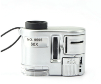 Микроскоп для смартфона, 60x, подсветка, уф подсветка