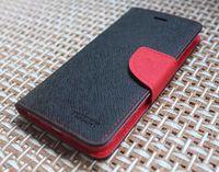 Чехол-книжка на Apple iPhone 6/6S, полиуретан, черный+красный