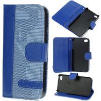 Чехол-книжка на Apple iPhone 5/5S, кожа, текстиль, магнитный с язычком, синий