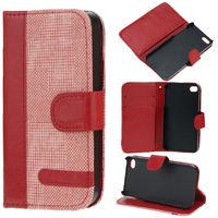 Чехол-книжка на Apple iPhone 5/5S, кожа, текстиль, магнитный с язычком, красный