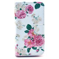 Чехол-книжка на Apple iPhone 4/4S, полиуретан, цветы, белый