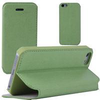Чехол-книжка на Apple iPhone 5/5S, кожа, зеленый
