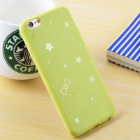Чехол-накладка на Apple iPhone 5/5S, силикон, матовый, звезды, зеленый