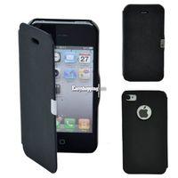 Чехол-книжка на Apple iPhone 4/4S, полиуретан, магнитный, черный