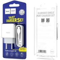 Сетевое зарядное устройство USB, Hoco C72A Glorious, 2.1A, 1xUSB, + кабель Type-C, белый