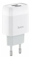 Сетевое зарядное устройство USB, Hoco C73A Glorious, 2.4A, 2xUSB, белый