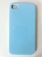 Чехол-накладка на Apple iPhone 4/4S, силикон, глянцевый, голубой