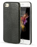 Чехол-накладка на Apple iPhone 7/8, силикон, кожа, крокодил, черный