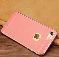 Чехол-накладка на Apple iPhone 6/6S Plus, силикон, под кожу, прошив, розовый