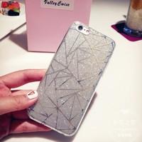 Чехол-накладка на Apple iPhone 6/6S Plus, силикон, блестящий, геом, серый