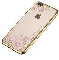 Чехол-накладка на Apple iPhone 7/8 Plus, силикон, блестящий, полупрозрачный, стразы, золотистый