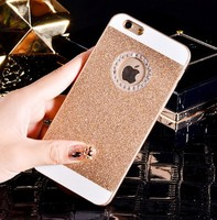 Чехол-накладка на Apple iPhone 5/5S, пластик, стразы, блестящий, золотистый